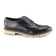 Base London RAID Mens Hi-Shine Leather Lined Wingtip Derby Brogue Shoes Navy