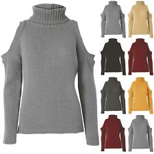 Womens Ladies Cold Shoulder Rib Knit Oversized Pullover Hi Lo Sweater Jumper Top