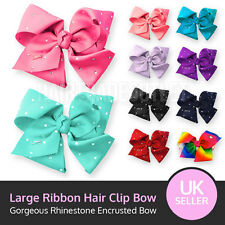 Girls Large Rhinestone Grosgrain Ribbon Hair Bow Clip