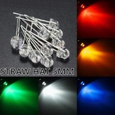 10 x 5mm Straw Hat LED White Blue Yellow Green Red