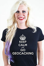 Keep Calm And Go Geocaching Unisex da uomo donna T-shirt Maglietta