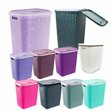 LARGE LAUNDRY BASKET WASHING CLOTHES STORAGE BINS RATTAN STYLE PLASTIC BASKET