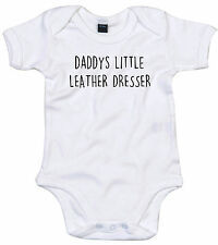 LEATHER DRESSER BODY SUIT PERSONALISED DADDYS LITTLE BABY GROW GIFT