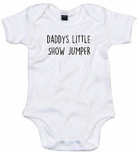 SHOW JUMPER BODY SUIT PERSONALISED DADDYS LITTLE BABY GROW GIFT