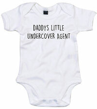 UNDERCOVER AGENT BODY SUIT PERSONALISED DADDYS LITTLE BABY GROW GIFT