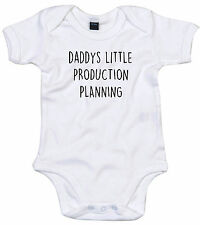PRODUCTION PLANNING BODY SUIT PERSONALISED DADDYS LITTLE BABY GROW GIFT