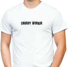 CHARITY WORKER T SHIRT PUNK GRAFFITI HORROR WHITE TEE ROCK METAL