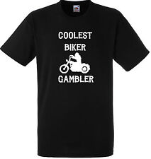PERSONALISED COOLEST BIKER GAMBLER T SHIRT GIFT GANG ANARCHY BLACK MOTORBIKE