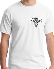 ANGRY BULL HEAD FACE WITH HORNS  INSANE EYES WHITE T SHIRT ANIMAL GIFT BIRTHDAY