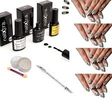 Mirror Chrome Effect Powder Kit Nail Art Dust Pigment Silver Gold By nailXtra