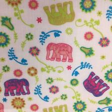 Printed poly cotton Elephants & Flowers PINK 115cm sold by the metre DD