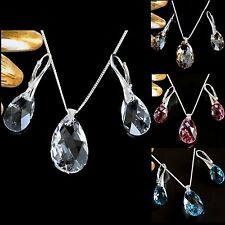 GENUINE SWAROVSKI PEAR CRYSTAL,SET OF 925 STERLING SILVER EARRINGS AND NECKLACE