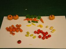 58 Piece Dollhouse Miniature Mixed Vegetables  and Fruit Set - FREE SHIP