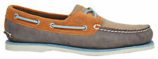 Timberland Lace Up Mens Leather Brown Orange Boat Shoes A16KN T3