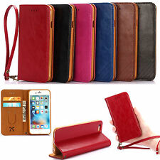 Luxury Leather Wallet Case Magnetic Flip Cover Stand For Apple iPhone