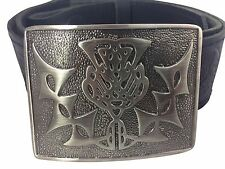 Brand New Antique Thistle Hide Embossed Leather Kilt Belt and Buckle SMALL-XL