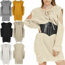 Womens Ladies Cold Shoulder Destroyed Chunky Shreded LaceUp Knitted Ripped Dress