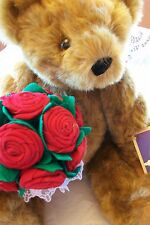 NWT Vermont Jointed Teddy Bear Rose Bouquet Mothers Day Gift Guaranteed For Life