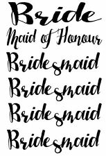 Set of 9 Bride Maid of Honour Bridesmaid iron on vinyl t shirt transfers