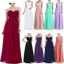 Women Party Long Dress Wedding Pageant Prom Chiffon Bandeau V Neck Maxi Dresses