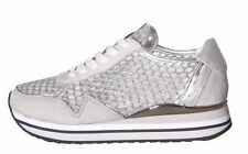 CRIME LONDON SNEAKERS SPEED Camoscio Argento КРОССОВКИ Suede Silver Shoes New