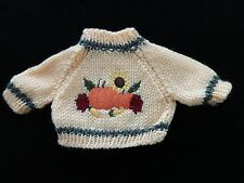 Sweater Knitted Stuffed Bear Yellow Green FALL HARVEST Embroidery Pumpkins More