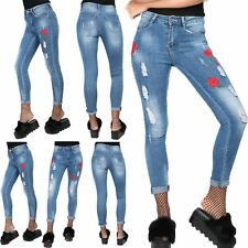 Womens Ladies Flower Floral Big Roses Embroidered Ripped Skinny Fit Denim Jeans