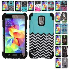 For Samsung Galaxy S5 Rugged Hybrid Design Heavy Duty Armor Kickstand Cover