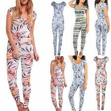 Ladies Womens Floral Celeb Keyhole Cap Sleeve Piece All In One Playsuit Jumpsuit