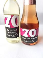 10x PERSONALISED 70th BIRTHDAY MINI WINE & CHAMPAGNE BOTTLE LABELS