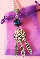 dream catcher Pendant necklace on silver plated chain gemstone native american