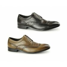 Azor BIANCO Mens Leather Formal Lace Up Round Toe Derby Brogues Shoes