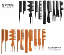 10PCS PROFESSIONAL SALON HAIRDRESSING STYLING COMB KIT SET BLACK and BROWN