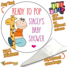 24 BABY SHOWER Personalised DIY Sweet Cone Ribbon Party Bags Kit Stickers  654