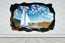 Cave Effect Crack Yacht Boat Lake Sail Wall Sticker Poster Vinyl GA33-435