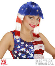 Short Wig With Silver Stars Red White And Blue Stars And Stripes Miss USA