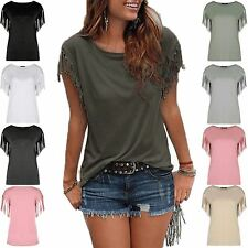 Womens Ladies Fringe Summer Loose Short Sleeve Blouse Casual Top Tee T Shirt