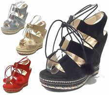 Womens Wedge Heel Strappy Lace Up Shoes Slingback Peep Toe Espadrilles Sandals