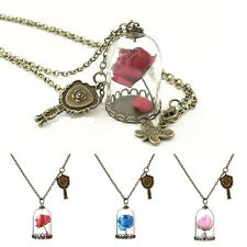 UK BEAUTY & THE BEAST ROSE DOME NECKLACE Flower Jewellery Gift Idea Girls Womens