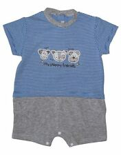 Boys Cotton Blue Romper With Puppies