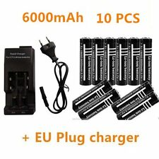 10X 3.7V 6000mAh 18650 Li-ion Rechargeable Battery for Flashlight & charger MY