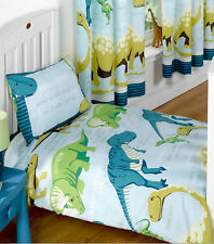 Kids Dinosaur Facts Double Bedding Curtains - Blue, T-Rex, triceratops
