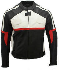 Mens Red Cowhide Leather Touring Black Motorcycle Jacket