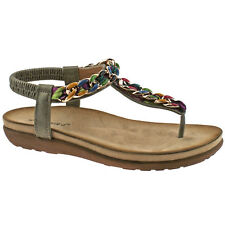LADIES BOULEVARD METALLIC PEWTER MULTI ELASTICATED TOE POST SANDALS L9528FS KD