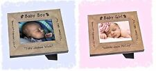 New Baby Boy or New Baby Girl personalised photo gift engraved frame keepsake