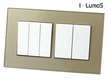 I LumoS AS Luxury Gold Glass & White Insert Electrical Sockets & Light Switches
