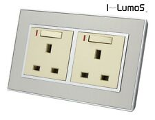 I LumoS AS Silver Satin Metal & Gold Insert Electrical Sockets & Light Switches
