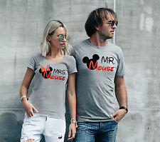 Disney Mickey Mouse His and Hers matching Mrs and Mr sport grey T-shirts set