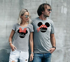 Disney Mickey Mouse inspired matching Bride and Groom sport grey T-shirts.