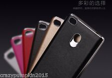 For Xiaomi Redmi 3S Prime Luxury Leather Back Chrome Bumper Frame TPU Cover Case